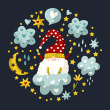 Vector Cute Colorful Illustration Of Garden Gnome With Heart And Cloud And Moon. Cartoon Elf Kid Illustrationnight Print. Fantasy Round Ornate Drawing With Bird.