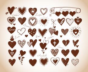 Collection of doodle sketch hearts in vintage style.