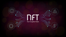 NFT Non Fungible Tokens Infographics With Pcb Tracks And Unique Tokens On Dark Background. Pay For Unique Collectibles In Games Or Art. Vector Illustration.