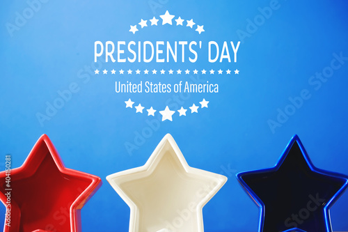 Obraz Presidents day message with red white and blue star decorations - fototapety do salonu