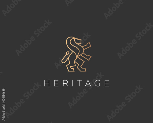 Fotografie, Tablou Lion on hind legs simple and elegant logo design template in trendy linear style