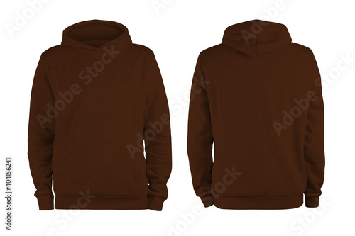 Obraz Men's brown dark chocolate blank hoodie template,from two sides, natural shape on invisible mannequin, for your design mockup for print, isolated on white background - fototapety do salonu