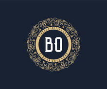 Initial BO Antique Retro Luxury Victorian Calligraphic Emblem Logo With Ornamental Frame.