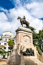Statue Of Bruno Mauricio De Zabala At Plaza Zabala In Montevideo, Uruguay