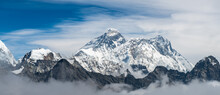 Mount Everest (8,848 M) The Highest Mountains In The World. This Mountain Lies On The Border Between Nepal And The Tibet Autonomous Region Of China.