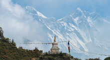 Tenzing Norgay Memorial Stupa With Dramatic View Of Mt.Everest And Mt.Lhotse Behind The Mist (Focus At Stupa).
