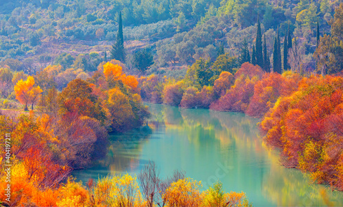 Obraz Colorful majestic Goksu river in national park with autumn forest - Mersin, Turkey - fototapety do salonu