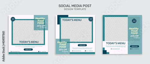 Social media instagram healthy food sale promotion and article template post in Fototapeta