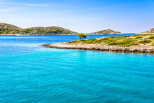 Croatian Coast Of Rocky Beach. Island In The Sea, Croatia. Mediterranean Scenery, Croatia, Vacation Travel Concept.