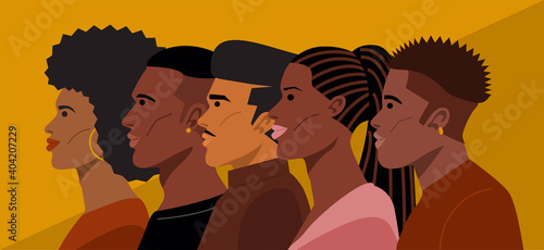 Portrait of Young African American Hairstyles. Vector