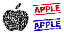 Apple Star Mosaic And Grunge Apple Seals. Red And Blue Seals With Grunge Texture And Apple Caption. Abstract Apple Composition Is Composed From Scattered Flat Star Parts.