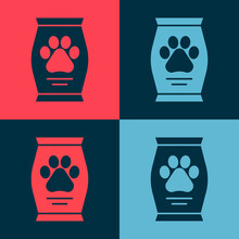 Pop Art Bag Of Food For Dog Icon Isolated On Color Background. Dog Or Cat Paw Print. Food For Animals. Pet Food Package. Vector.