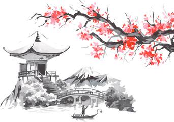 Japan traditional sumi-e painting. Fuji mountain, sakura, sunset. Japan sun. Indian ink vector illustration. Japanese picture.