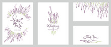 Cards For Wedding Invitation. Set Vector Design Elements, Wreaths And Bouquets Of Lavender And Calligraphy Lettering.