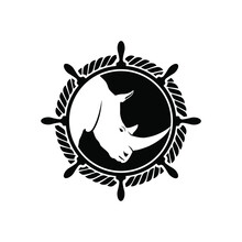 Anchor And Rhino In Black And White Vector