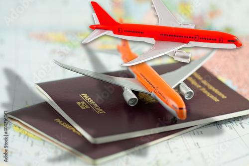 Fotografiet Concept voyages, avions sur passeports