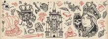 Fairy Tales Old School Tattoo Vector Collection. Middle Ages Magic Legends. Fantasy Tattooing Style. Medieval Castle, Queen In The Golden, Crown, Dragon, Knight, Viking Boat, Sword And Princess Frog