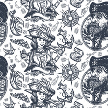 Pirates. Seamless Pattern. Old Captain, Parrot, Girl Filibuster, Compass, Anchor, Treasure Island, Swallows. Sea Adventure Background. Traditional Tattooing Style. Caribbean Robbers