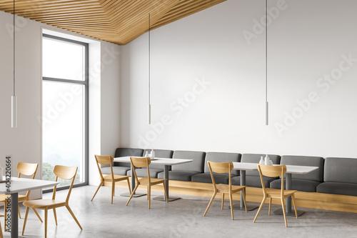 Modern white loft restaurant corner