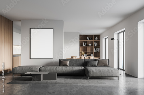 Obraz White living room with sofa and poster - fototapety do salonu