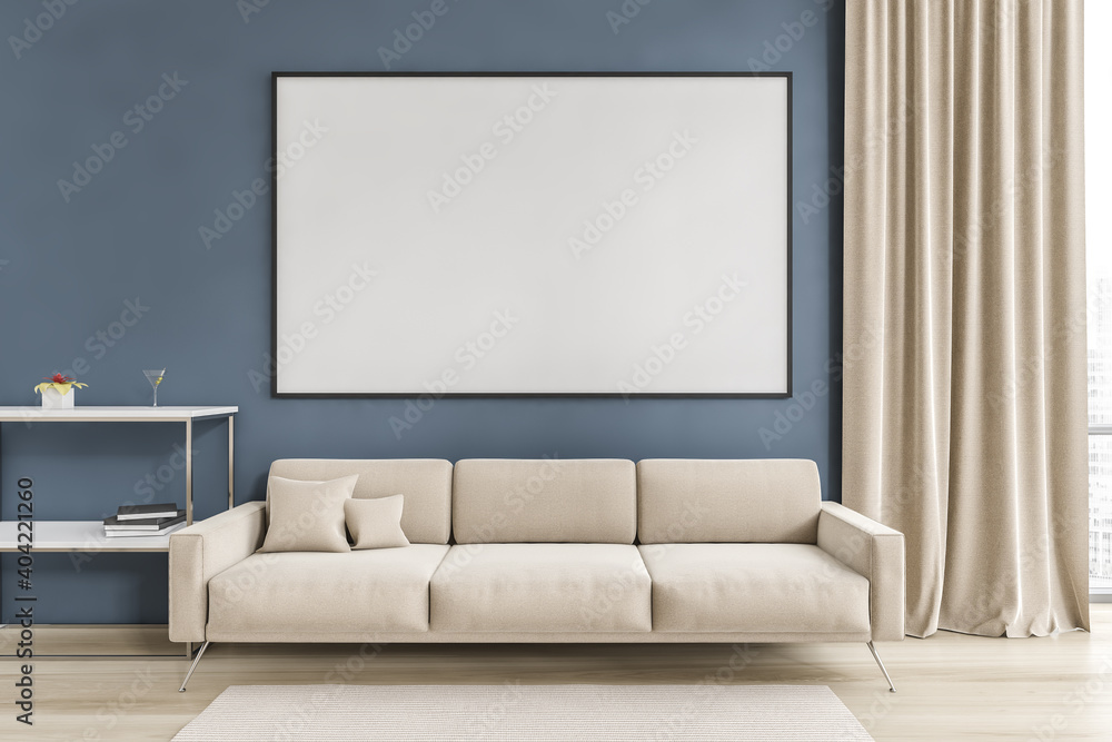 Fototapeta Mockup canvas in white and blue living room with sofa on parquet floor