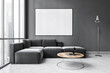 Leinwandbild Motiv Mockup canvas in dark living room with black sofa on marble floor