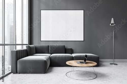 Fotografía Mockup canvas in dark living room with black sofa on marble floor