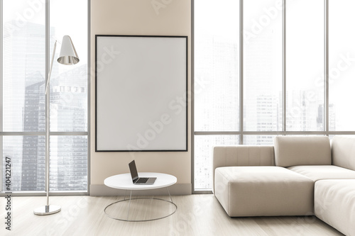 Mockup canvas in light living room with white sofa on parquet floor