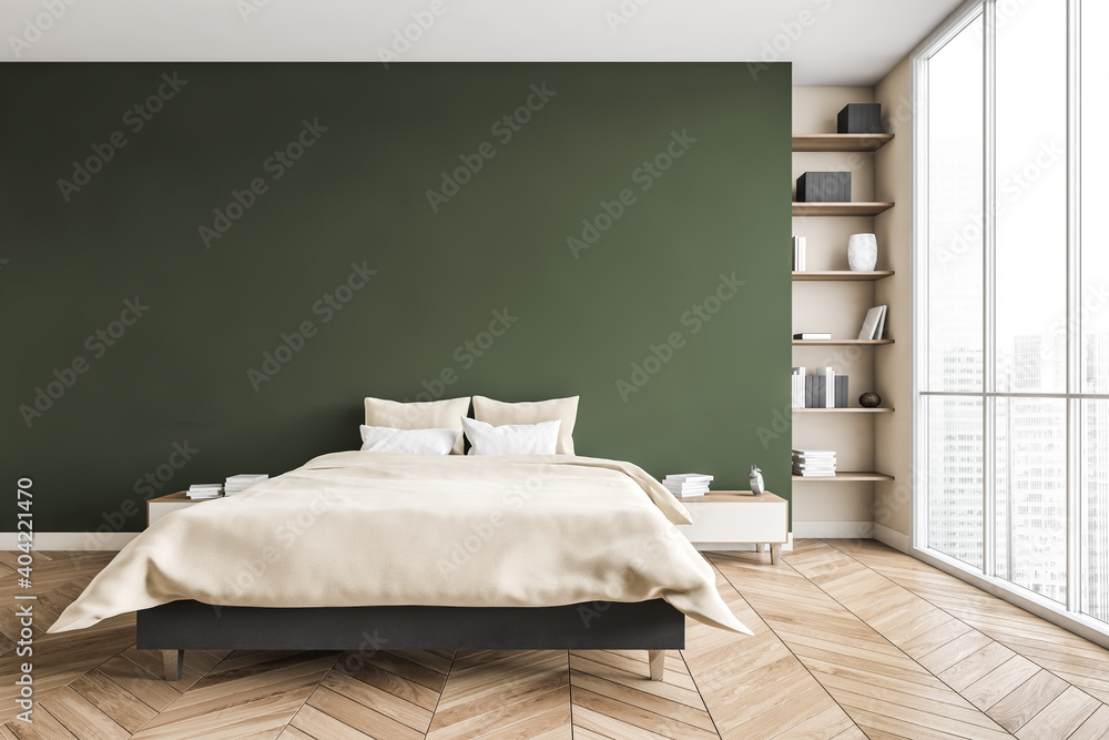 Fototapeta Green and beige bedroom, bed with linens bookshelf near window