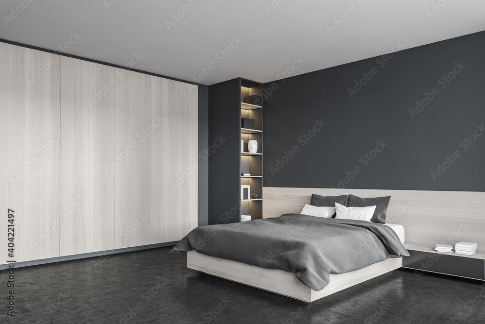 Fototapeta Black bedroom, bed with linens and wardrobe, bookshelf in the corner