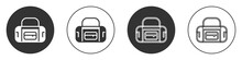 Black Sport Bag Icon Isolated On White Background. Circle Button. Vector.