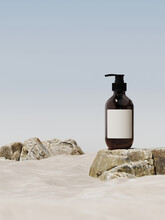 Minimal Mockup Background For Product Presentation. Cosmetic Bottle And Beige Stone On Sand Beach With Blue Sky. 3d Rendering Illustration. Clipping Path Of Each Element Included.