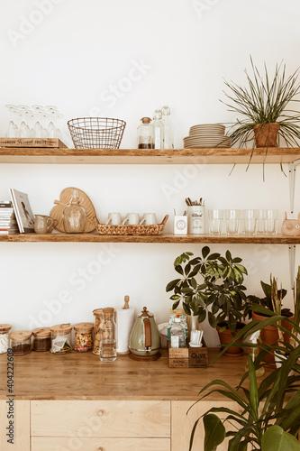Photo Modern boho style home kitchen interior concept