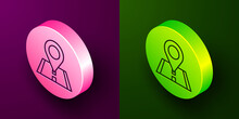 Isometric Line Map Pin Icon Isolated On Purple And Green Background. Navigation, Pointer, Location, Map, Gps, Direction, Place, Compass, Search Concept. Circle Button. Vector Illustration.