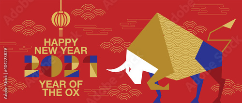 Obraz na plátně Happy new year, Chinese New Year, 2021, Year of the Ox, happy new year,  Flat de