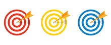 Set Of Vector Targets On A White Background. Red, Blue, Yellow Sight