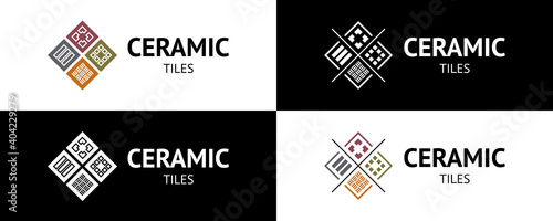 Fotografia Stylish ceramic tiles logo