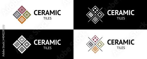 Obraz na plátně Stylish ceramic tiles logo
