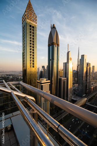 UAE, Dubai - December, 2020: Sheikh Zayed Road, a 7 lane highway, showing some of Dubai's famous skyscrapers. Wall mural