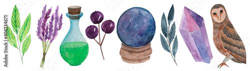 Fototapeta Watercolor clipart of magic items