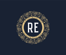 Initial RE Antique Retro Luxury Victorian Calligraphic Emblem Logo With Ornamental Frame.