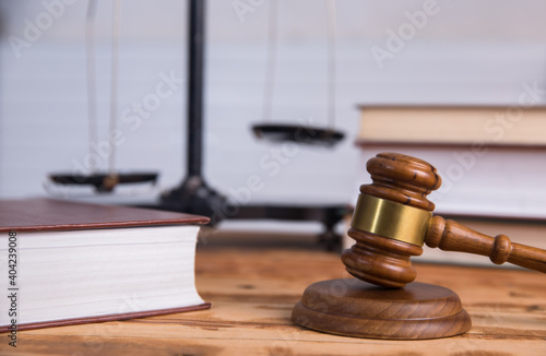 Fotografie, Obraz Judge gavel, books and scale