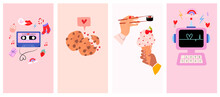 Set Of Romantic Cartoon Background With Cute Lovely Valentines Day Elements For Social Media, Mobile App, Networking. Love You Greeting Card. Editable Vector Illustration.