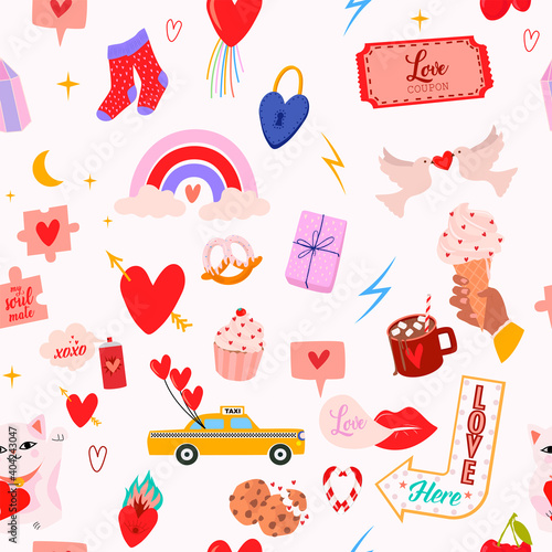 Valentines Day seamless pattern with romantic illustration and elements in scandinavian style. Perfect for wrapping paper, textile and scrapbooking. Editable vector illustration.
