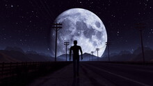 Illustration Of Man Walking On A Night Road Silhouette Go Towards The Moon