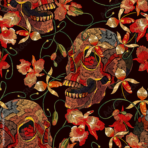 Embroidery human skull and orchid flowers. Dark gothic seamless pattern. Tropical concept. Medieval style. Fashion clothes template and t-shirt design