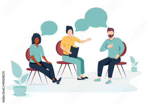 Obraz People suffering from problems, attending psychological support meeting. Patients sitting in circle, talking. Vector. - fototapety do salonu