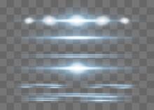 Red Horizontal Lens Flares Pack. Laser Beams,
