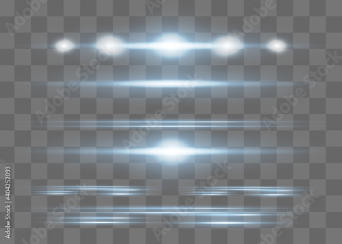 Red horizontal lens flares pack. Laser beams,