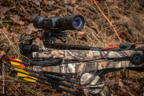 Stampa su Tela night sight mounted on a crossbow, photo in the forest, close-up of the lens, so